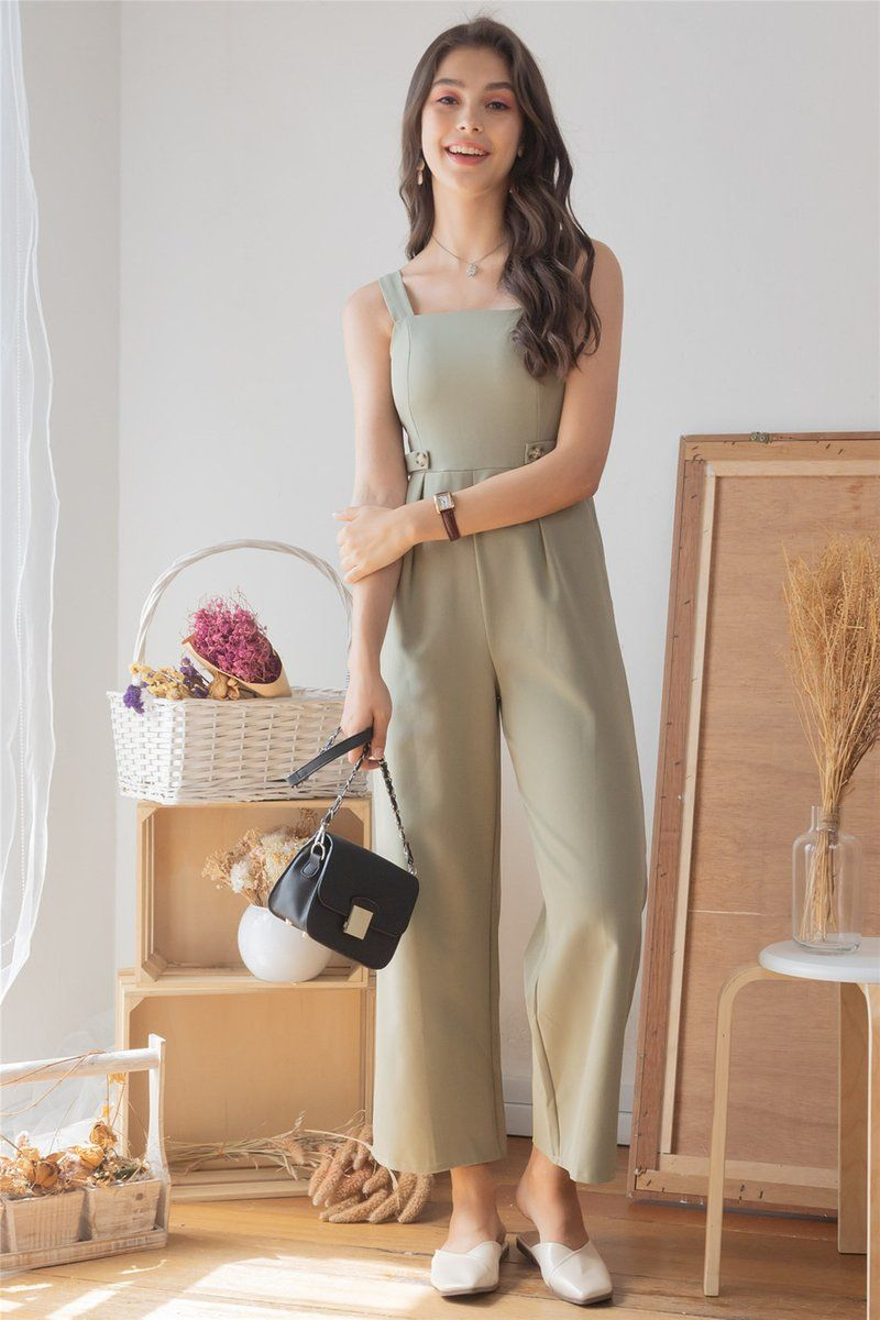 Anticlockwise Duo Button Jumpsuit In Sage Green