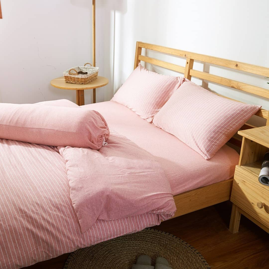 Cotton Pure Pink Stripe Knitted Cotton Fitted Sheet Set