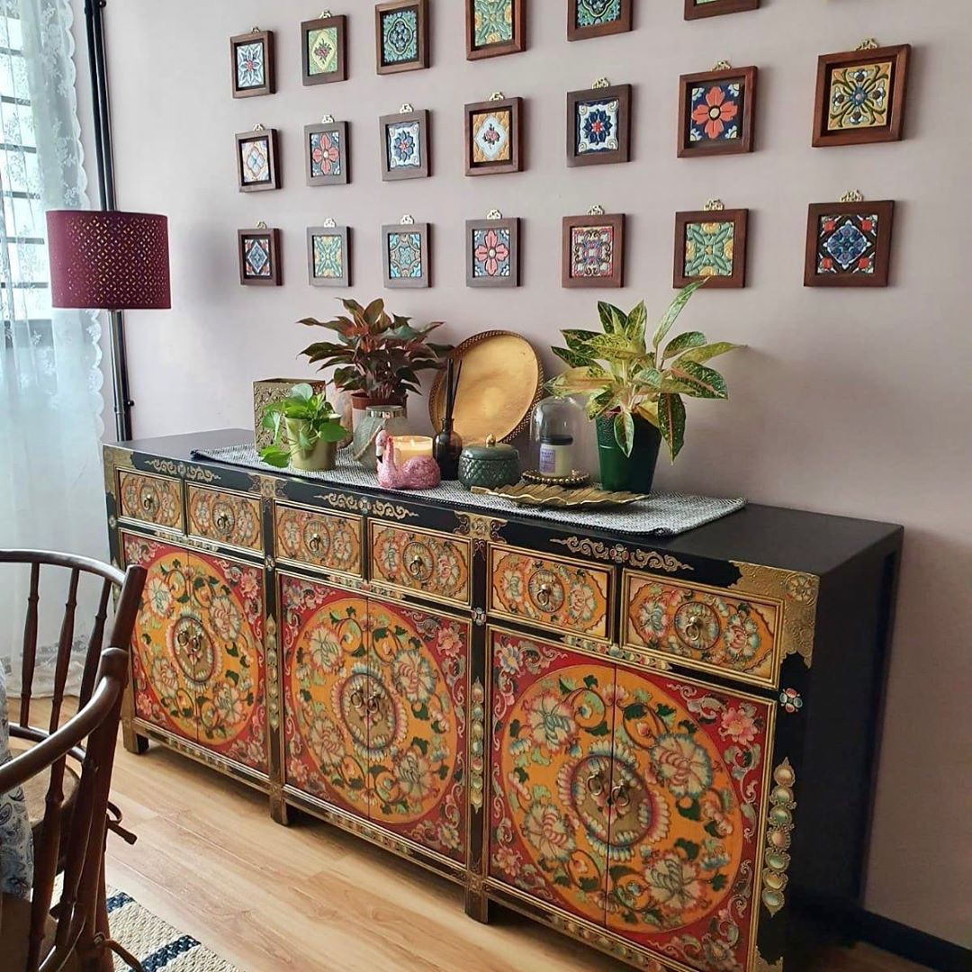 Just Anthony Long sideboard hand-painted Tibetan-style