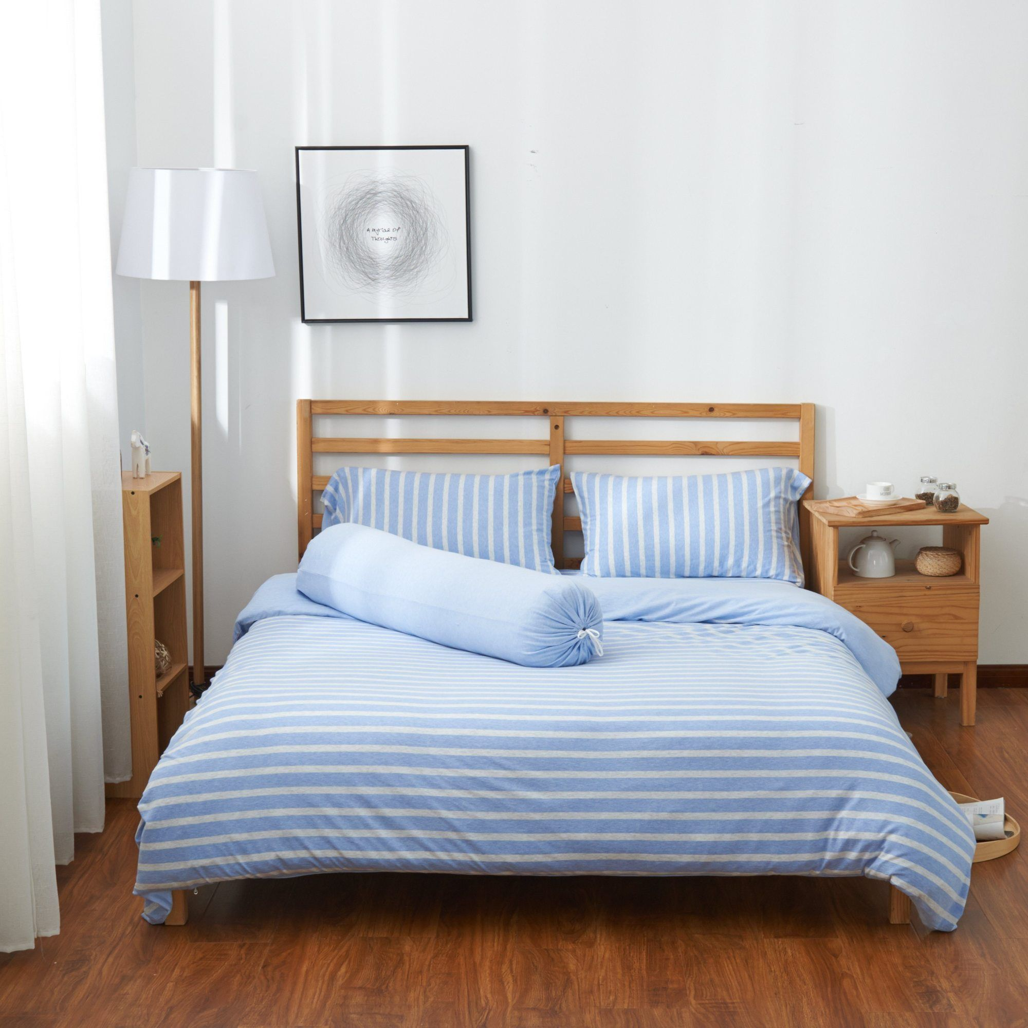 Bedding Affairs Cotton Pure Sky Blue Stripe Jersey Cotton Fitted Sheet Set