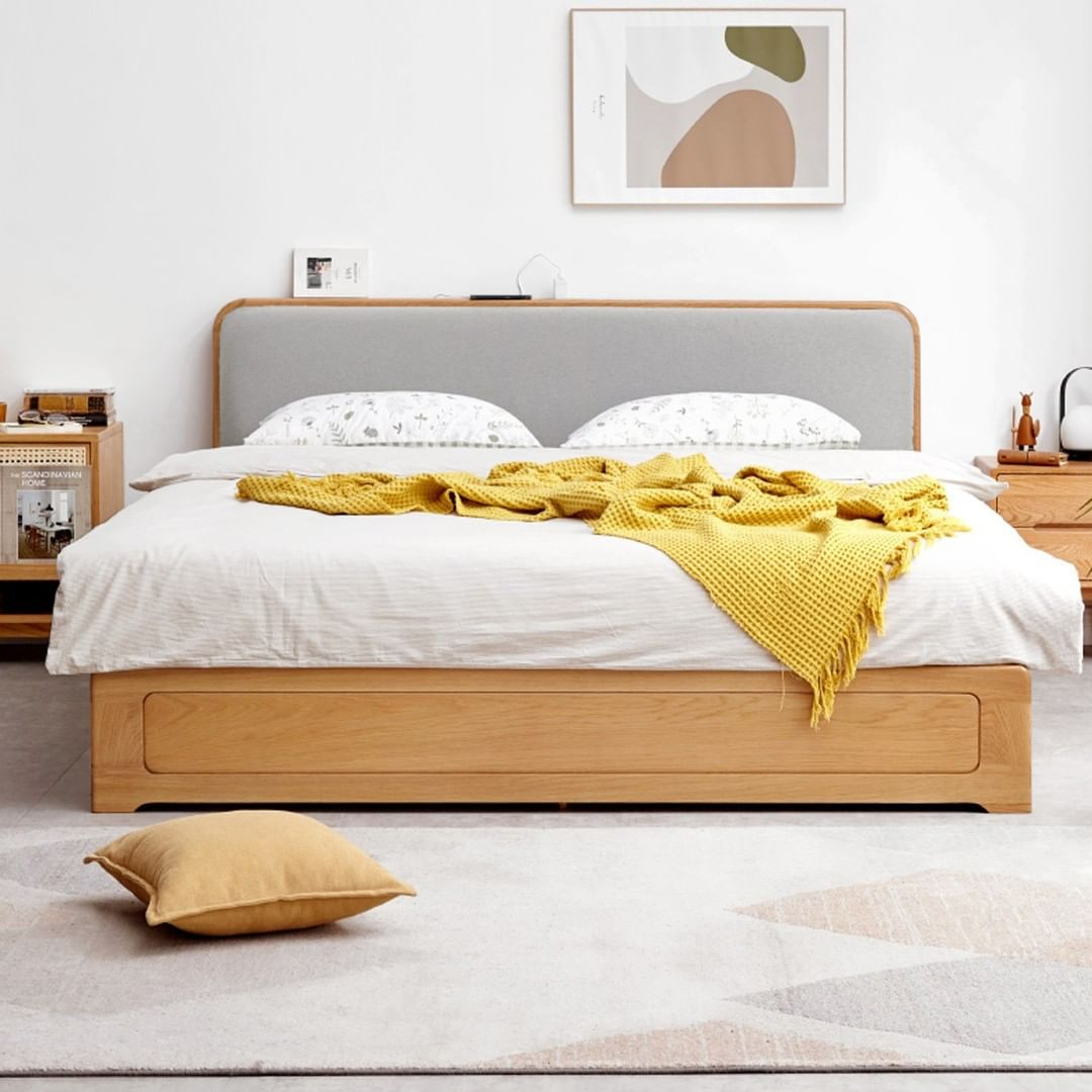 IUIGA Seattle Solid Oak Bed Frame