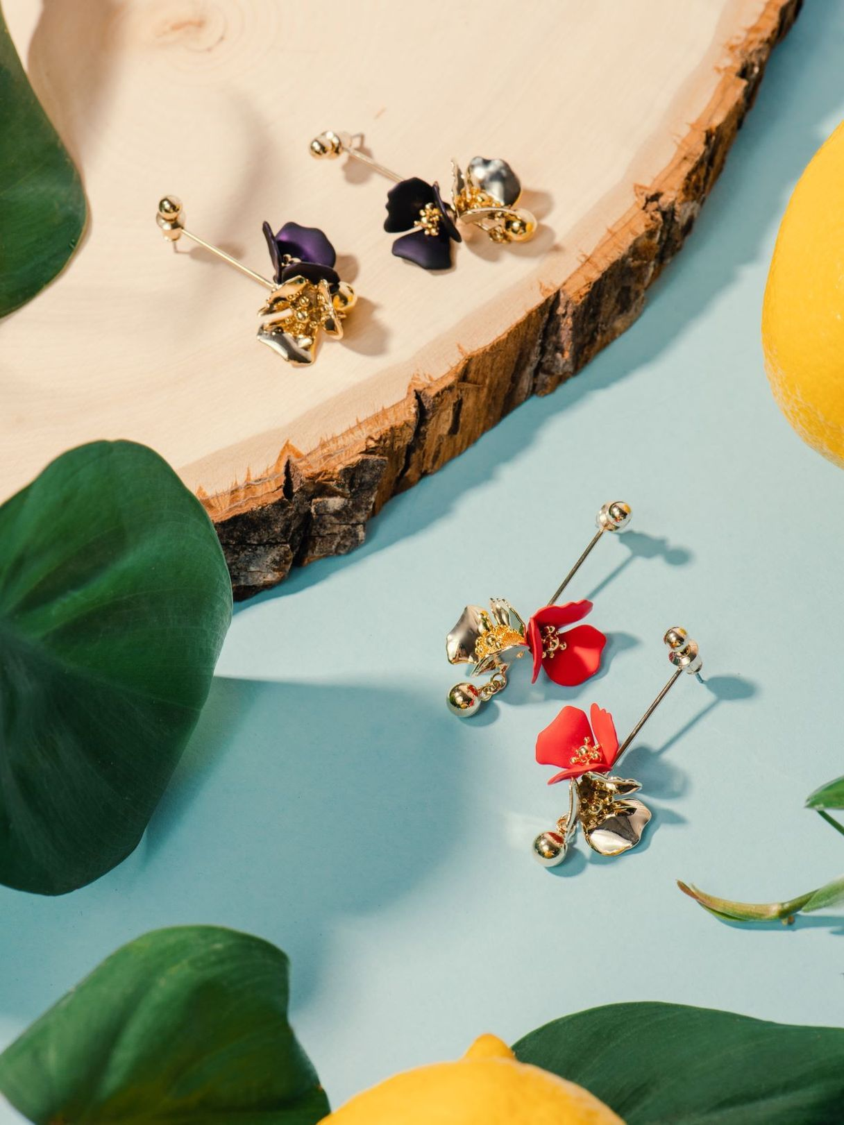 Forest Jewels Gold Plated Dangling Flora Earrings